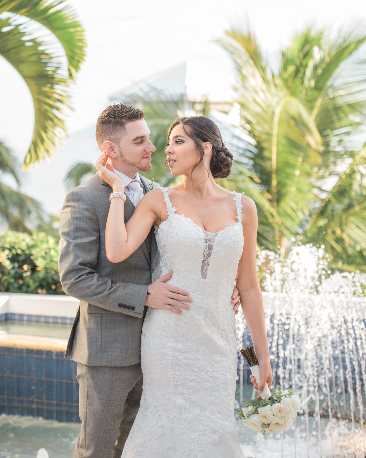 Bride and groom see each other for the first time before their Rooftop Wedding at Hilton Bentley Miami