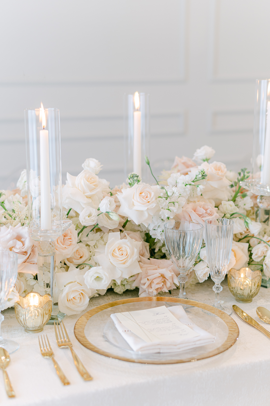 White, pink & gold wedding decor. Perfect soft and elegant combination for a center piece.